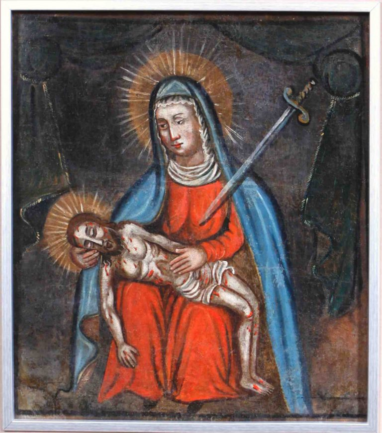 Chorągiew procesyjna. Pieta – Matka Boska Bolesna